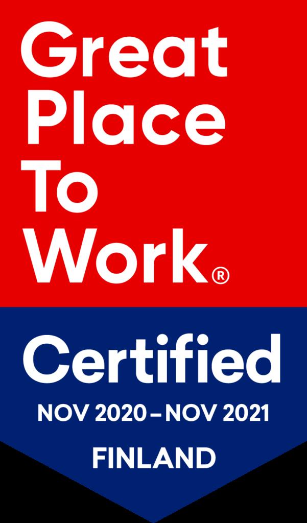 Great Place To Work -sertifikaatti marrakuu 2020 - marraskuu 2021